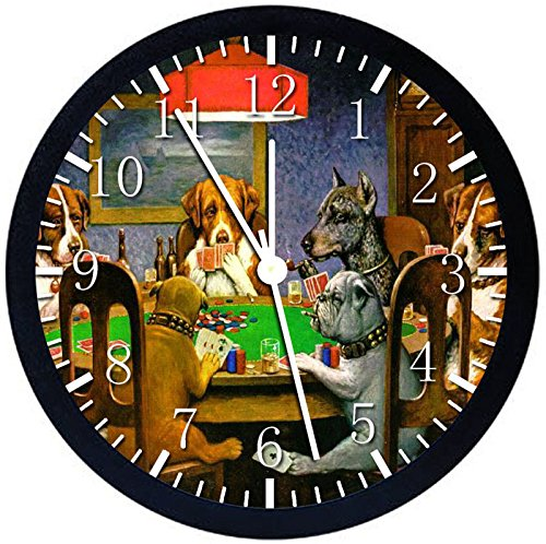 Play Dog Poker (The Dogs Play Poker Black Frame Wall Clock Z40 Nice For Gift or Office Home Wall Decor 10