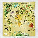 59 x 59 Inches Kids Decor Fleece Throw Blanket Educational World Map Africa America Penguins Atlantic Pacific Ocean Animals Australia Panda Blanket
