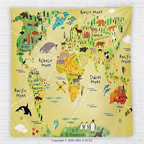 59 x 59 Inches Kids Decor Fleece Throw Blanket Educational World Map Africa America Penguins Atlantic Pacific Ocean Animals Australia Panda Blanket by iPrint
