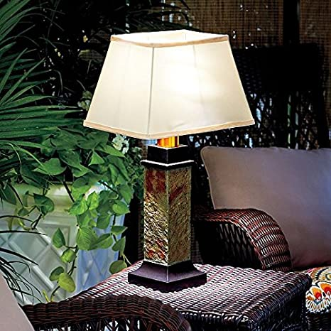 Gray Brown Faux Slate Battery Operated Outdoor Table Lamp Patio