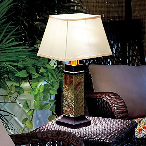 Gray Brown Faux Slate Battery Operated Outdoor Table Lamp Patio Decor Lighting by DermaPAD