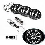 Lisha 9-Piece Set 65mm Car Wheel Center Cap Cover Logo Emblem Sticker for Honda Matching with Tire Valve Stem Caps and…