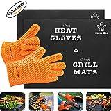 GRILL HOG BBQ Gift Set – Non-Stick Silicone Gloves &Teflon Mats
