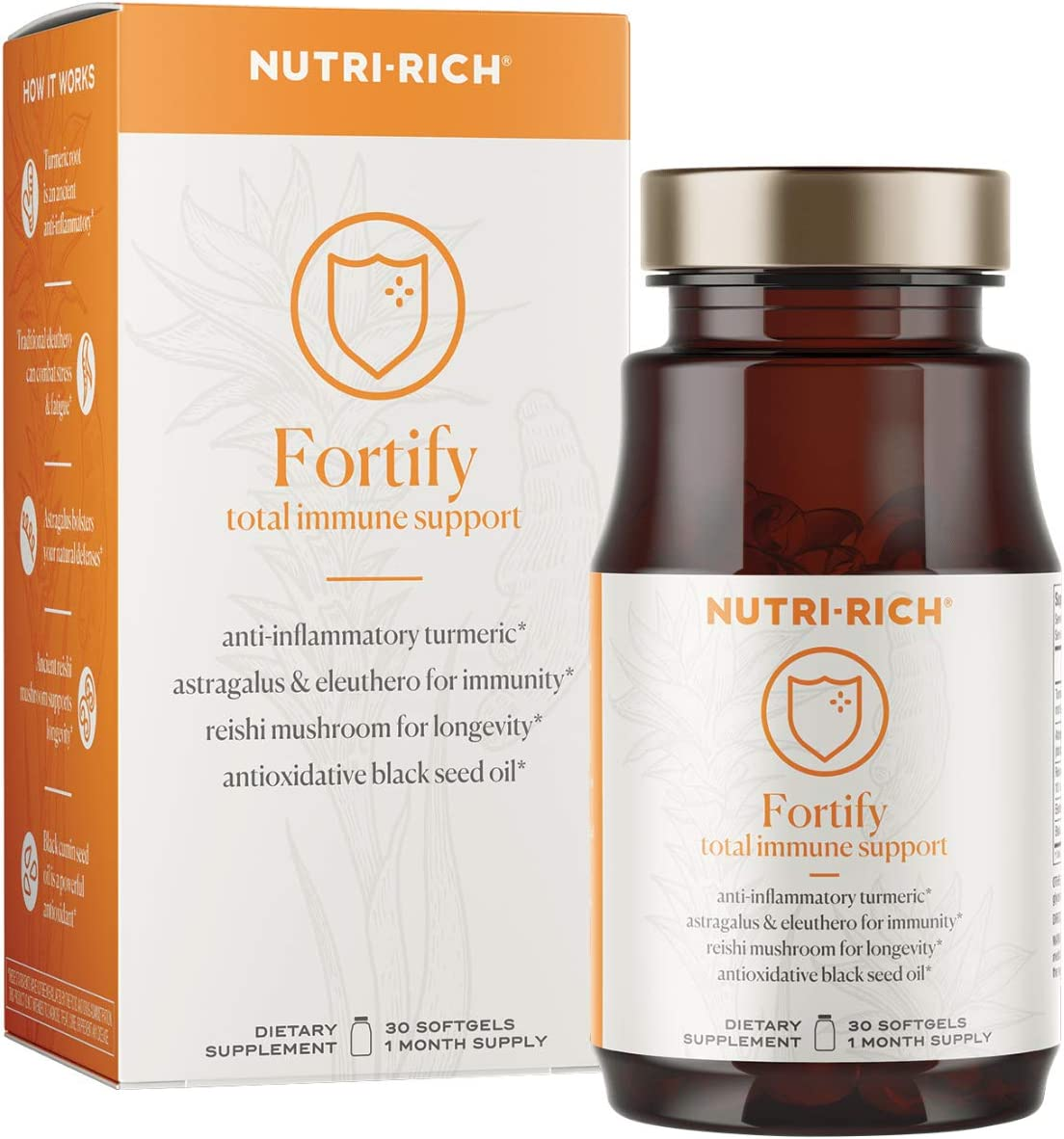 Fortify Adaptogens for Immunity, Inflammation, Cell Damage Curcumin, Black Seed Oil, Reishi Mushroom, Astragalus, Eleuthero