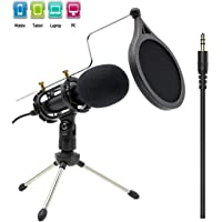 Looyuan 3.5mm Plug and Play Condenser Recording Microphone for Computer Desktop Laptop MAC Windows Online Chatting Podcast Skype YouTube Game