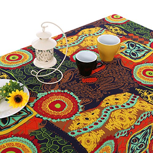 UniTendo Bohemia Mediterranean Style Tablecloths/Table Cloth Retro Colorful Floral Table Cover for Dining Table or Outside Picnic,Furniture Cover for Home Decor,55