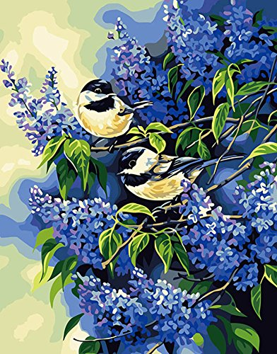 DIY Oil Painting, xhorizon TM FLK Paint by Number Kit - Chickadees and Lilacs, 16x20 inch