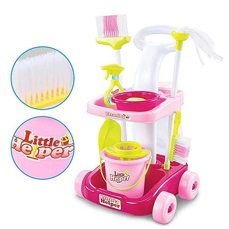 Juego de herramientas de limpieza de simulación Aspirador Cubo Ama de llaves Carrito de limpieza Juguete