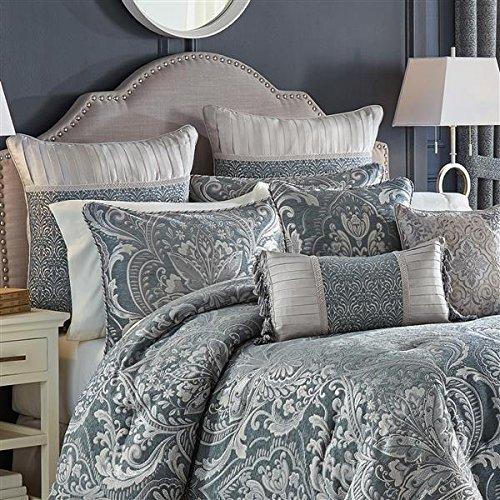 Jacquard Comforter Croscill (Croscill Gabrijel Slate Blue Queen Comforter Set 7 Pieces Bundle)