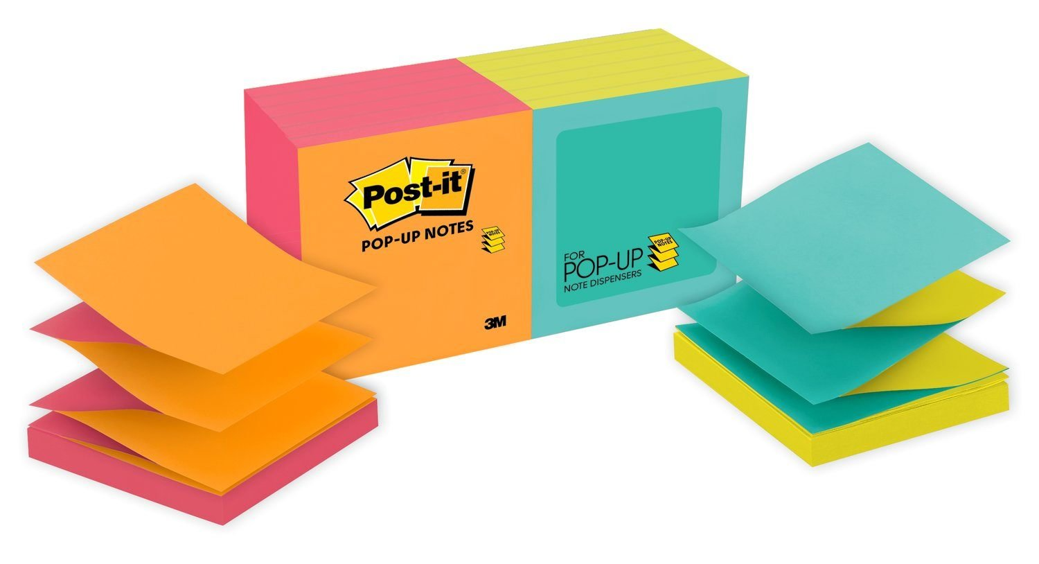 Post-it Pop-up Notes, Green, Blue, Yellow, Pink, Orange, Designed for Pop-up Note Dispensers, Call out Important Information, 3 in. x 3 in, 12 Pads/Pack, (R330-N-ALT) by Post-it