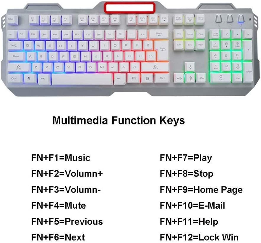 Anti-ghosting Water Resistant Keyboard USB Wired Mouse Gaming Mouse,Double Injection Keycaps Multimedia Keys Metal Panel Rainbow Backlighting Keyboard