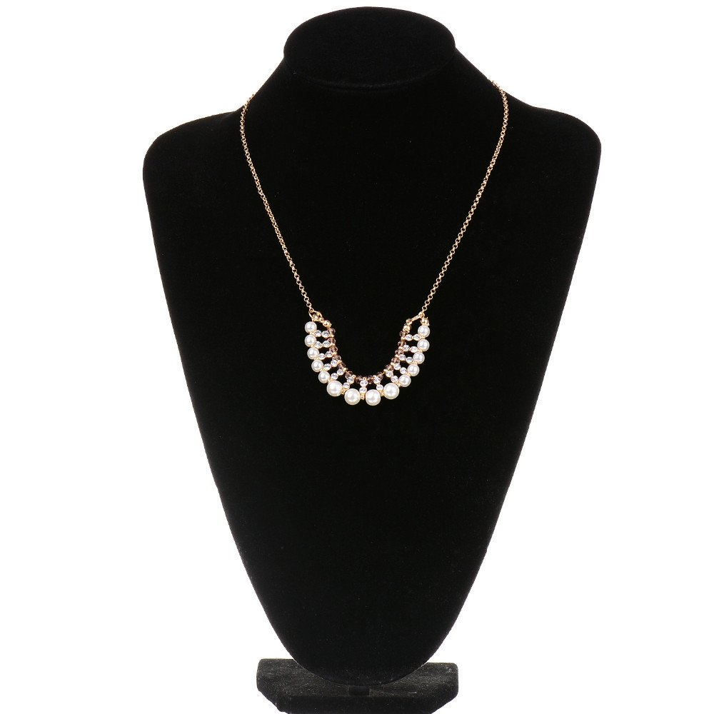 Unijew Gold Imitation pearl Bead Diamond gold necklace for women Geometric chains S Necklace semicircular