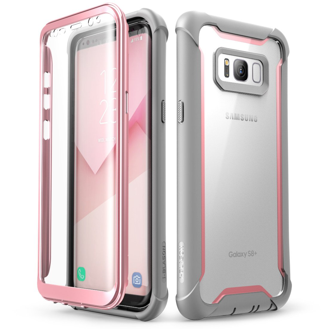 Samsung Galaxy S8+ Plus case, i-Blason [Ares] Full-Body Rugged Clear Bumper Case with Built-in Screen Protector for Samsung Galaxy S8+ Plus 2017 Release (Pink)