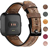 EZCO Leather Bands Compatible with Fitbit Versa/Versa 2 / Versa Lite, Vintage Genuine Leather Band Replacement Strap Wristban