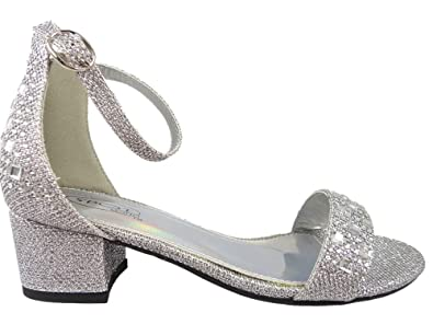 0c686fb5c1 Girls Diamante Party Bridesmaid Low Block Heel Shoes Silver Black Bling  10-2Uk: Amazon.co.uk: Shoes & Bags