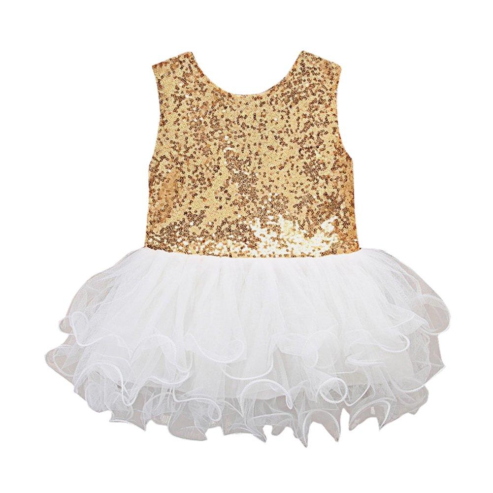 SCFEL Kinder Baby Mädchen Pailletten Sleeveless Bowknot Tutu Kleid Party Hochzeit Spitze Prinzessin Kleid