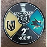 The Hockey Company 2018 Stanley Cup Playoffs 2nd Round Puck Dueling Teams Golden Knights VS. Sharks 2ND Round PRE-Order Item - Shipping Begins ON May 30TH LAS Vegas SAN Jose