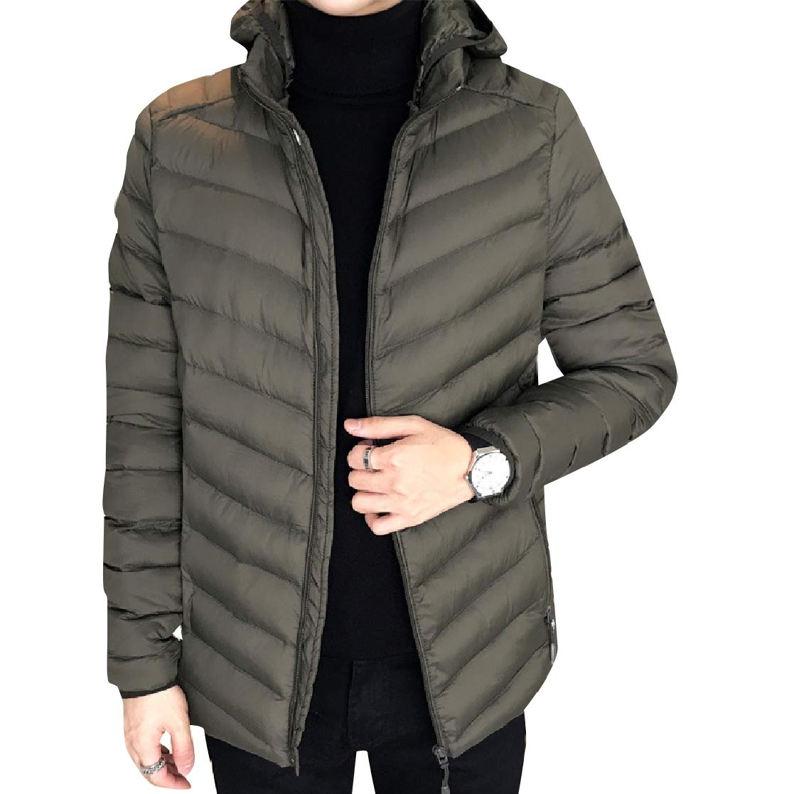 YUNY Men Plus Size Hood Windproof Removable Cups Leisure Down Coat Army Green 2XL