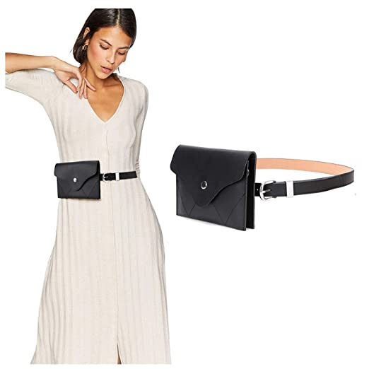 f9dbe33e83c JASGOOD Womens Leather Belt Fanny Pack with Removable Belt Tassel Waist  Pouch Fashion Belt Bags