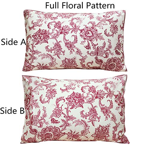 FADFAY 20X36 Pillowcase Luxury Baroque Red Floral Shams 100% Egyptian Cotton Pillow Covers, 2Pcs, King/Cal King ()