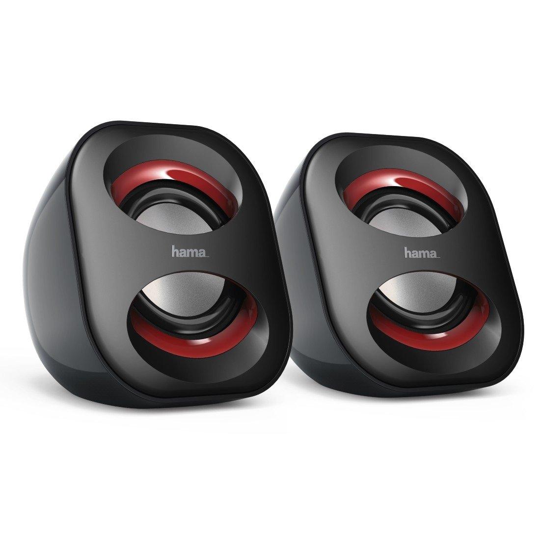 Hama 2.1 Soundsystem mit Fernbedienung (80W, fü r TV/PC/Mac, Aktiv-Boxen mit Subwoofer, Bluetooth, USB-Anschluss, SD-/MMC-Slot) Lautsprecher-System Schwarz/Rot Hama GmbH & Co KG 00173139