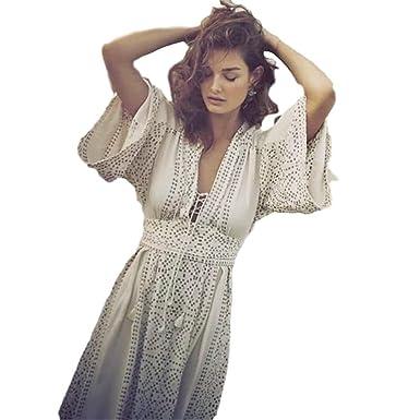 4971bb510e white Boho Chic Chiffon V-Neck flare sleeve long Dress elegant party Dress ( small