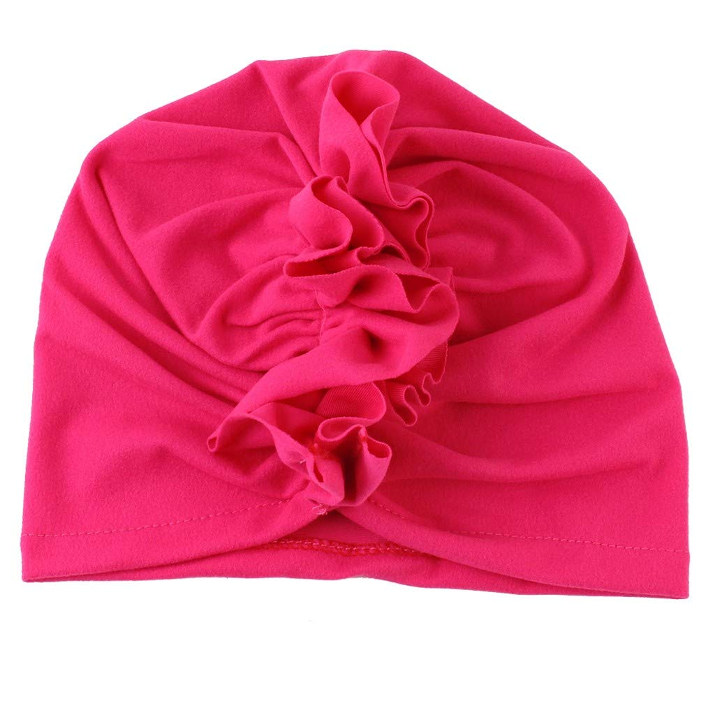 Girls Boys Soft Coton Head Wrap Hat Cute Fashion Ruched Hats Hot Pink