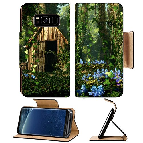 Liili Premium Samsung Galaxy S8 Flip Pu Leather Wallet Case ID: 23110124 3D computer graphics of a wooden hut in the forest with blue flowers and tree trunks full of - In Forest Hut