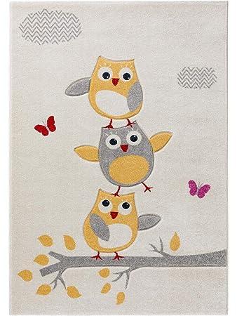benuta Kinderteppich Fröhliche Eule Beige 120x170 cm   Teppich für Spiel-  und Kinderzimmer