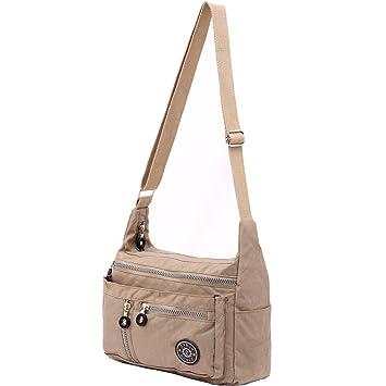 Amazon.com : ZYSUN Women's Fashion Nylon Messenger Bags, Nude ...