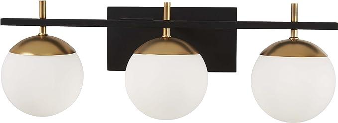 George Kovacs P1353-618 Alluria 3 Light Bath, 225 Watt Total, Weathered Black w/Autumn Gold