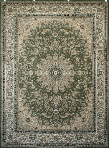 Feraghan/New City Traditional Isfahan Wool Persian Area Rug, 2' x 3', Sage Green (Rugs With Fringe)