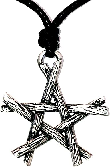 Wicca Jewelry Magic Pentagram Star Twigs Bundle Pagan Witchcraft Witch Witches Wiccan Magick Gothic Silver Pewter Men's Pendant Necklace Chain Wealth Money Lucky Charm Protection Amulet Talisman