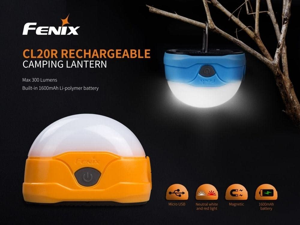 Fenix CL20R USB rechargeable 300 Lumen neutral white dedicated camping light with EdisonBright BBX4 battery carry casee bundle Blue