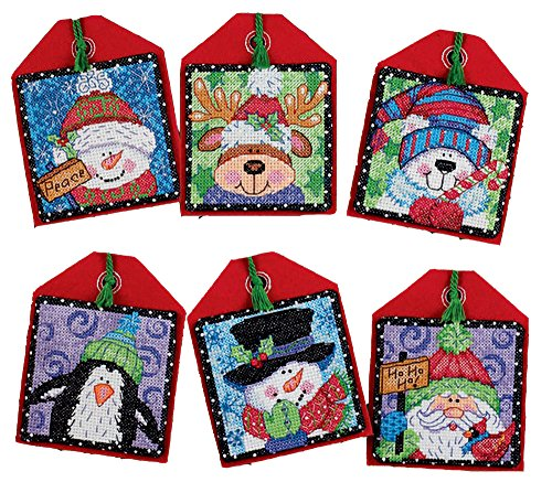 Dimensions Counted Cross Stitch Christmas Pals Ornament Kit, 6 pcs ()