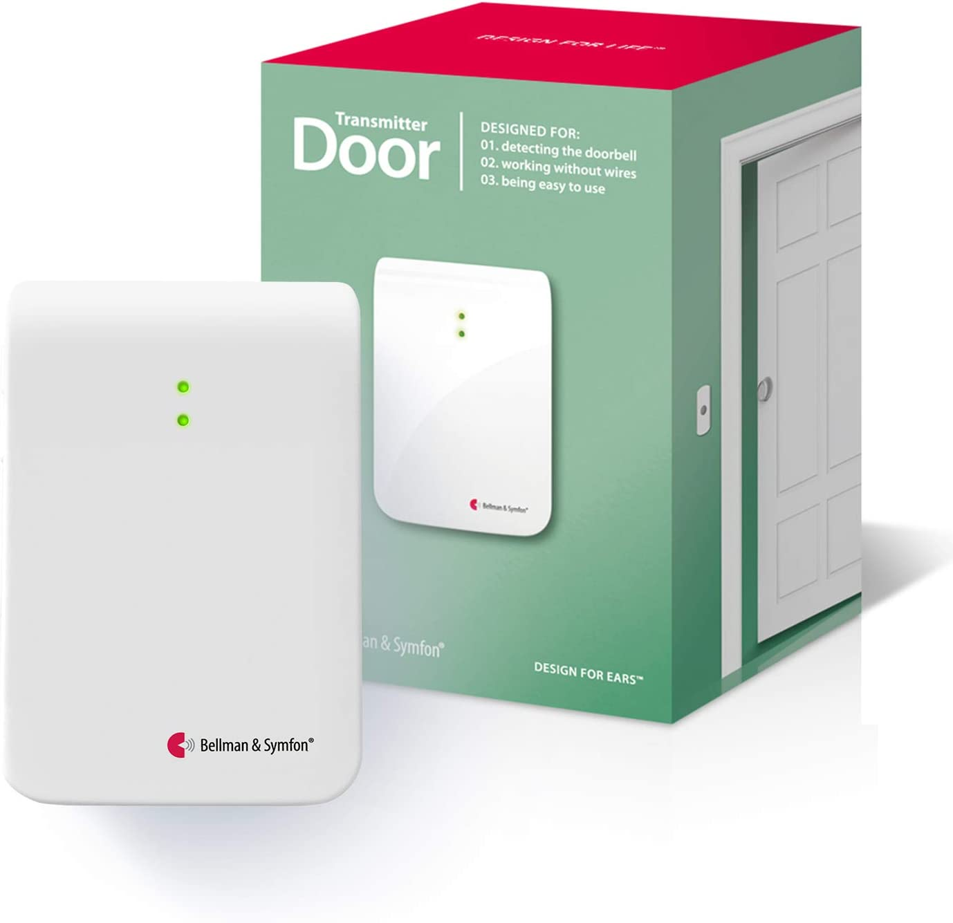 Bellman & Symfon Door Transmitter for Visit Home Alerting System - Doorbell & Intercom Detection for Difficult Hearing Situations - Wireless Smart Home - Easy to Use, for Seniors, Sense of Security