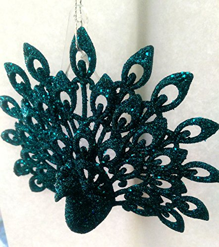 Peacock Ornament Teal Turquoise Blue Glitter Christmas or Decorative Ornament