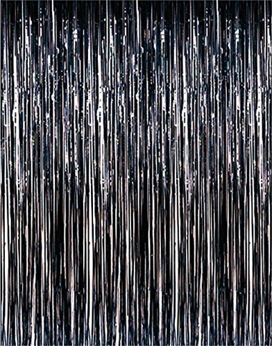 (Set of 2 Black Metallic Foil Fringe Door & Window Curtain Party Decoration 3' X 8' (36