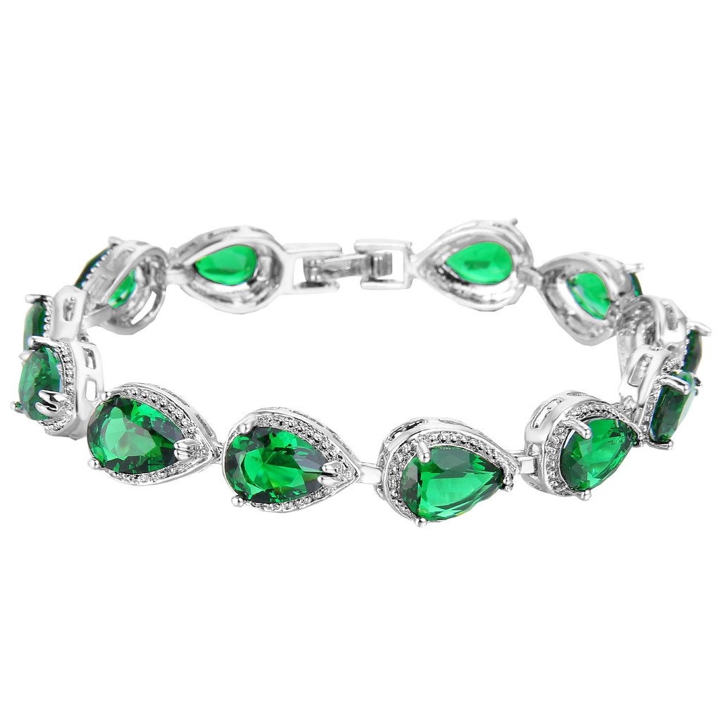 EVER FAITH Women's Prong CZ May Birthstone Teardrop Tennis Bracelet Emerald Color Silver-Tone
