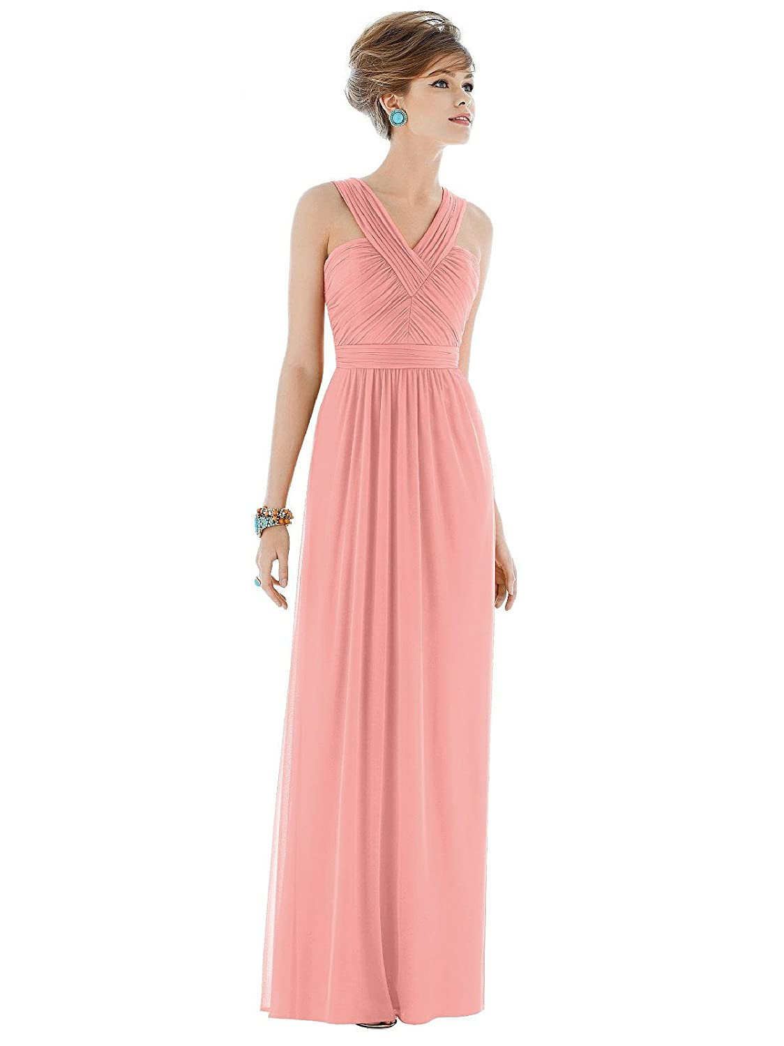Alfred Sung Style D678 Floor Length Chiffon Shirred Skirt Formal ...