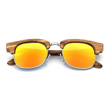 56cee7e8c3 Asdflina Gafas de Sol polarizadas Unisex Personalidad Semi-sin Rebordear  Gafas de Sol de Madera