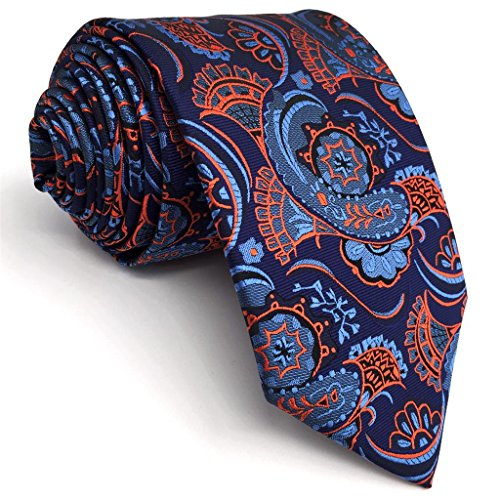 Tie And Orange Blue (Shlax&Wing New Paisley Blue Orange Mens Neckties Extra Long Ties For Men Jacquard Woven)