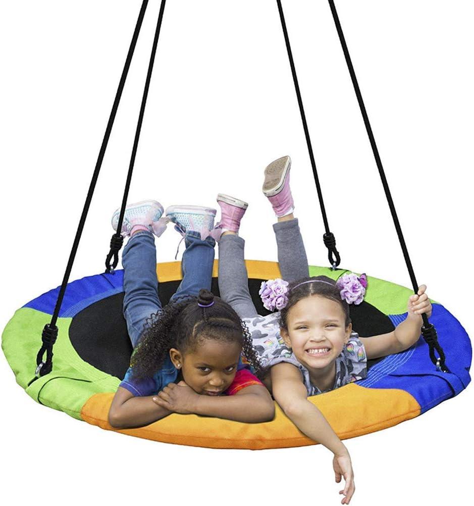 CJCJ-LOVE Swing Kids, Niños Ronda Nido Hamaca Silla De Cubierta Jardín Al Aire Libre, 900D Oxford Tela Swings Placa Oscilante 100Cm Diámetro,A