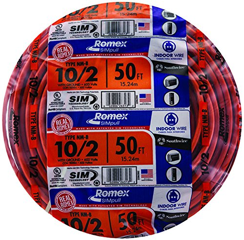 (Southwire 28829022 50' 10/2 with ground Romex brand SIMpull residential indoor electrical wire type NM-B, Orange)