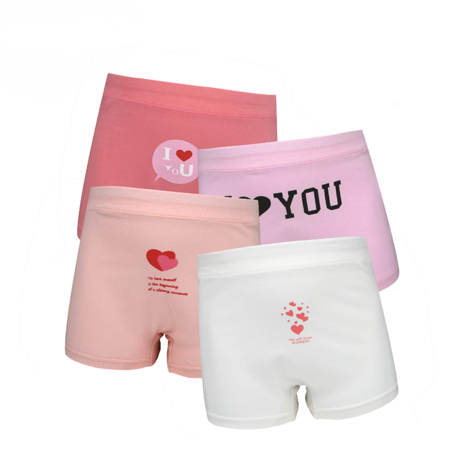SIVICE Young Girls Panties Girls Underwear Panty Models Love Heart Style Pack of 4 (S)