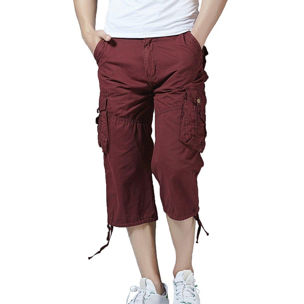 HSRKB Men's Cargo Short, Cropped Pants, Long Shorts for Men Without Belt HSRKB Men's Cargo Short