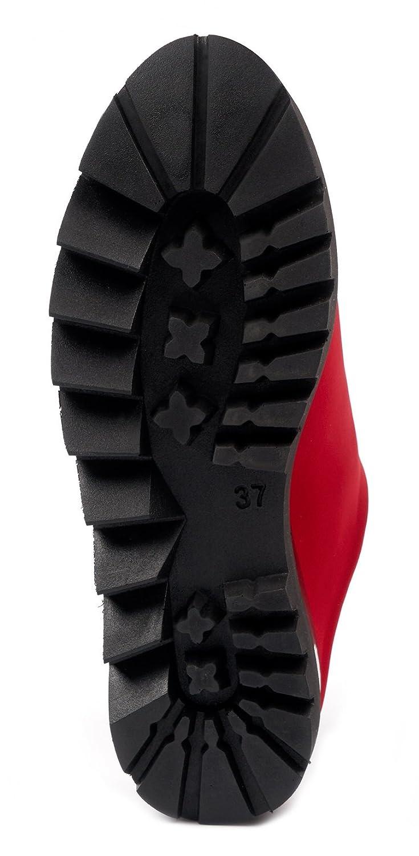 Fashion Slip on Sneakers BOBERCK Stella Collection Womens Back Less Platform Slip On M Loafer Slip On 7 B US, Red