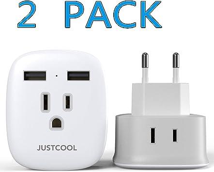 Adaptador de enchufe europeo, adaptador de enchufe de viaje Justcool International con 2 puertos USB, 2