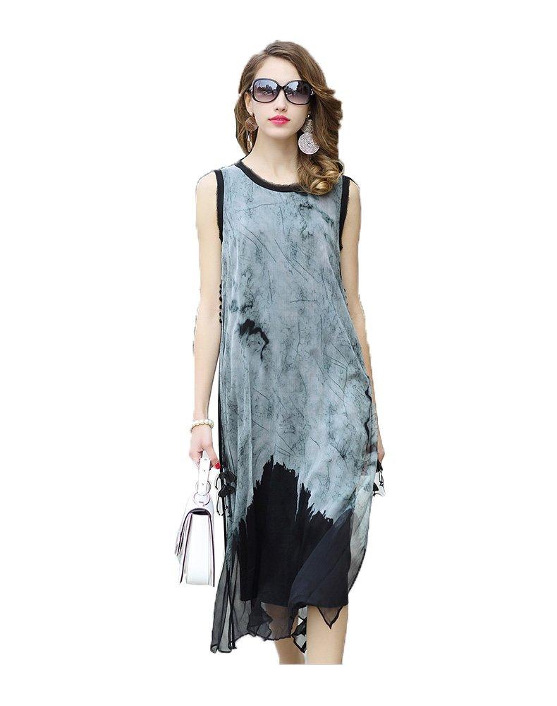 ARTOULAN Summer Designer Ladies Grey O Neck Sleeveless Silk High Split Blet Knotted Sundress