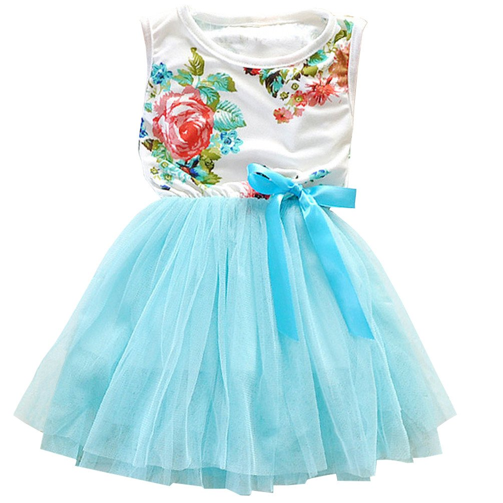 Csbks 1 2 3 4 5 Years Kid Girls Cute Floral Sundress Tulle Tutu Skirt Tank Dress 12 Months Light Blue
